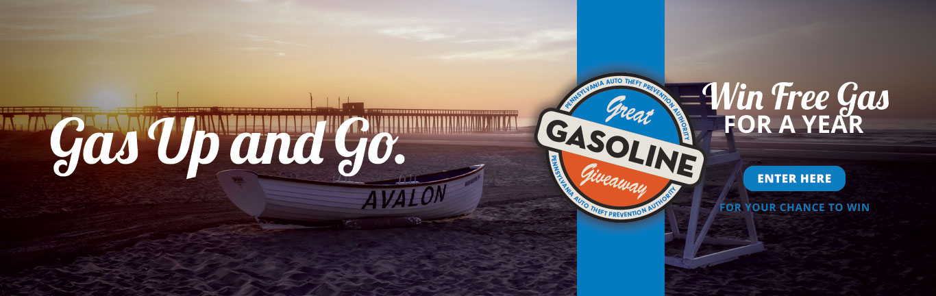 Gas up and Go copy over an image of the beach