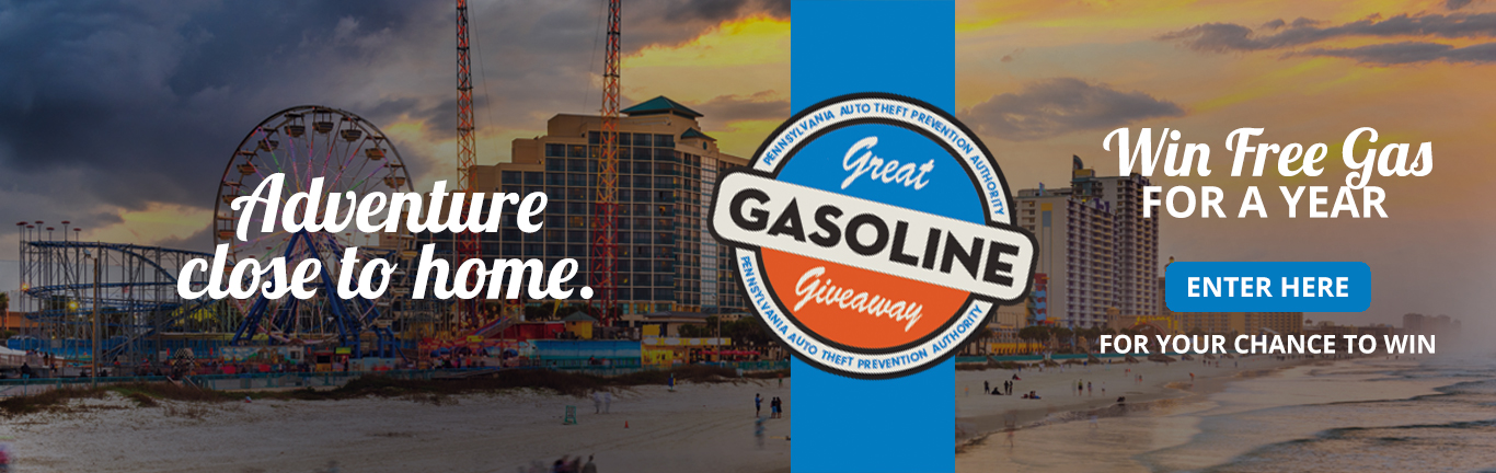 auto theft prevention authority great gasoline giveaway contest banner reads